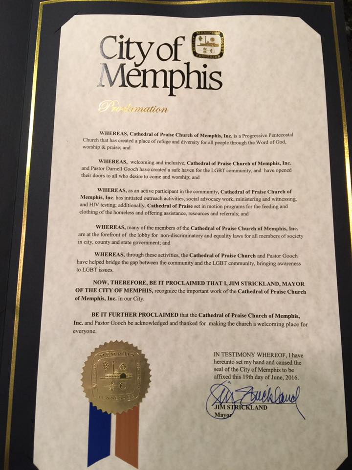 Cathedral Proclamation from City of Memphis